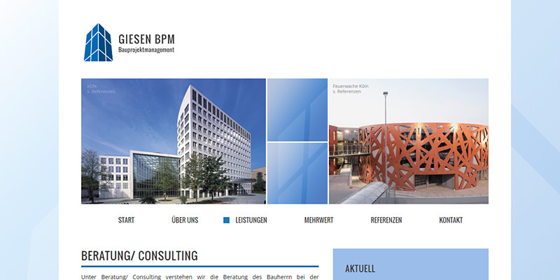 Bauprojektmanagement: Neue Website für GIESEN BPM